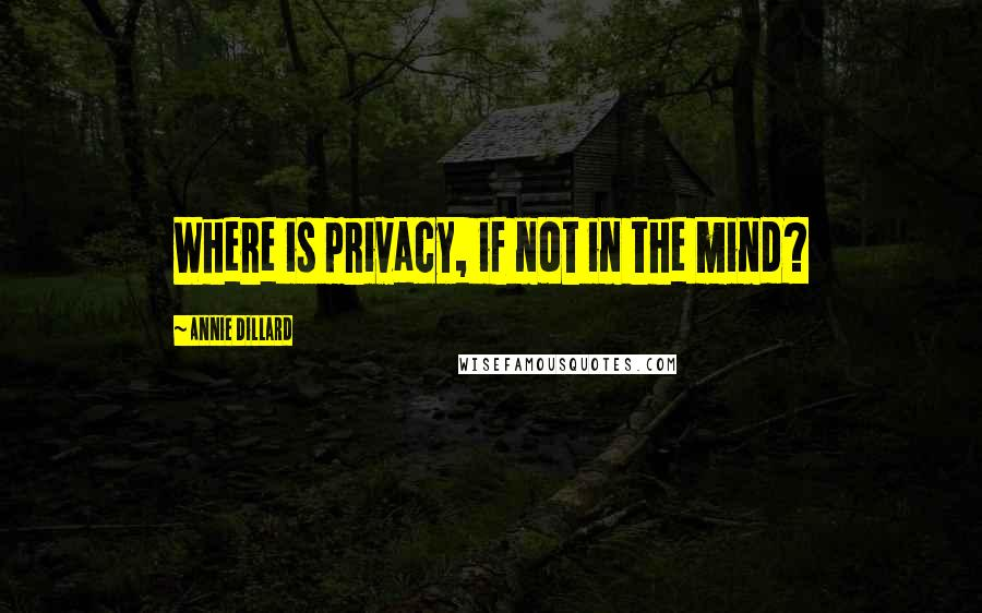 Annie Dillard quotes: Where is privacy, if not in the mind?