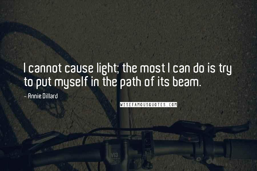 Annie Dillard quotes: I cannot cause light; the most I can do is try to put myself in the path of its beam.