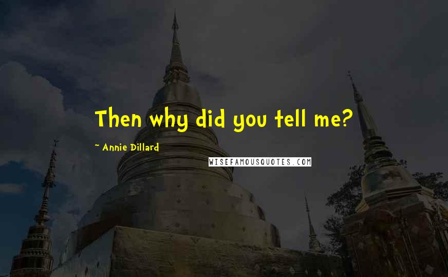 Annie Dillard quotes: Then why did you tell me?