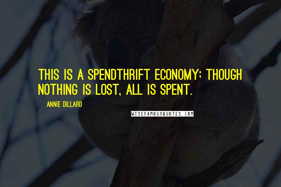 Annie Dillard quotes: This is a spendthrift economy; though nothing is lost, all is spent.