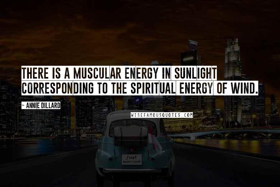 Annie Dillard quotes: There is a muscular energy in sunlight corresponding to the spiritual energy of wind.
