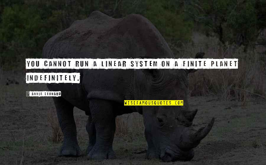 Annie Leonard Quotes By Annie Leonard: You cannot run a linear system on a
