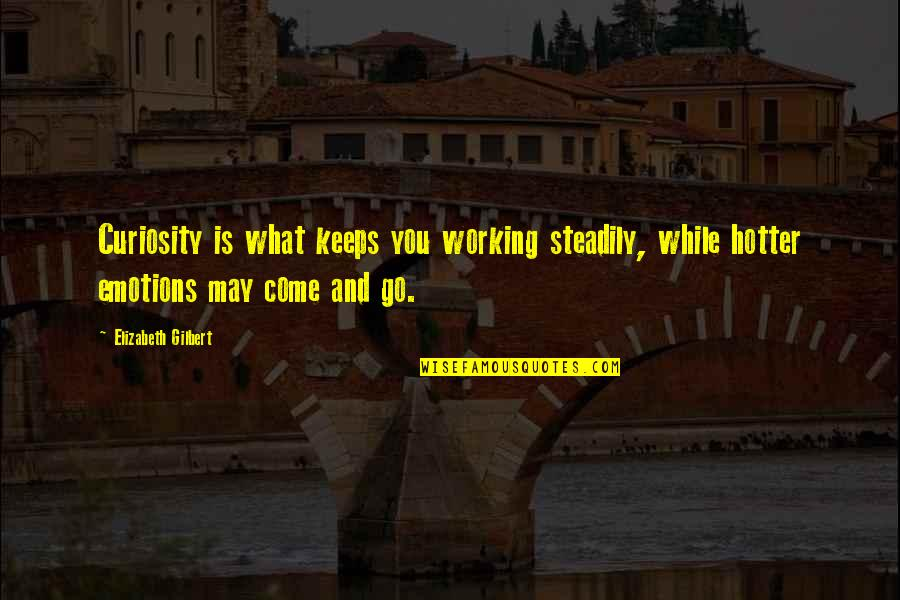Anniversary Cakes Quotes By Elizabeth Gilbert: Curiosity is what keeps you working steadily, while
