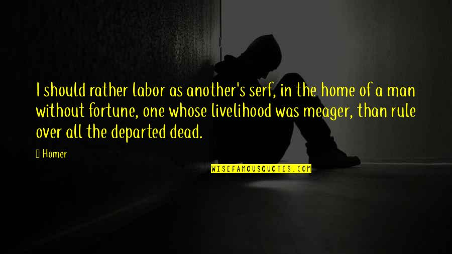 Another Man Quotes By Homer: I should rather labor as another's serf, in