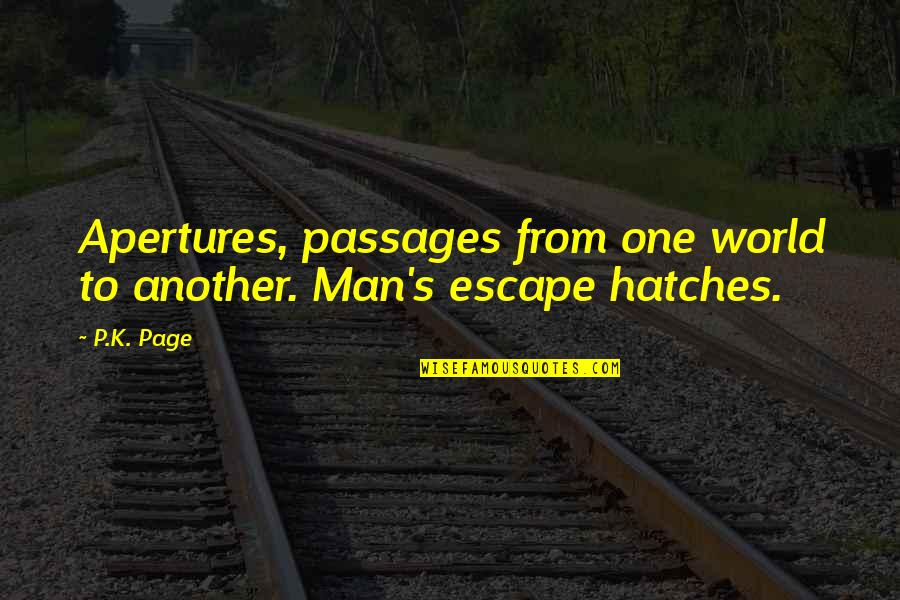Another Man Quotes By P.K. Page: Apertures, passages from one world to another. Man's