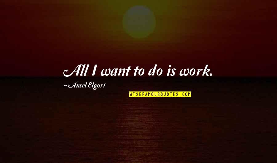Ansel Elgort Quotes By Ansel Elgort: All I want to do is work.
