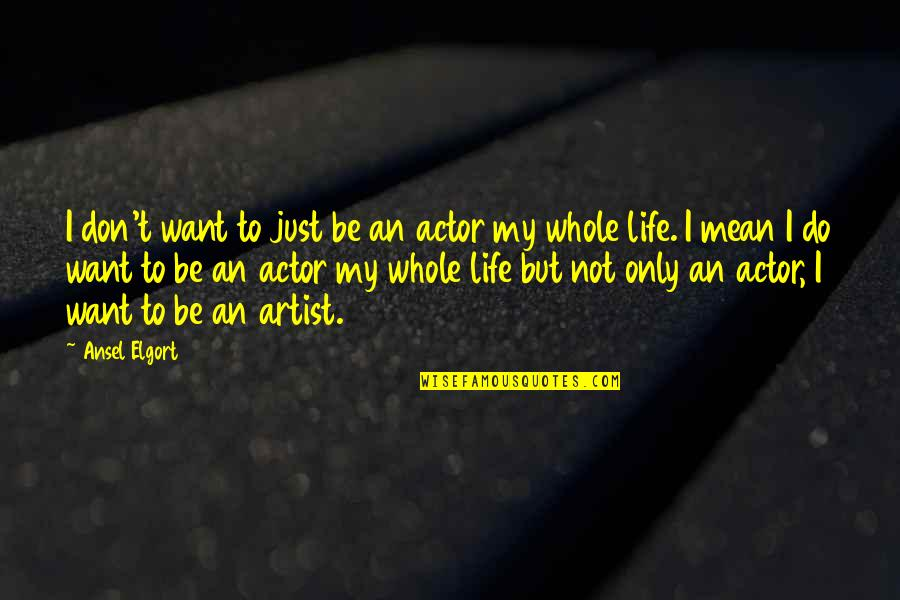 Ansel Elgort Quotes By Ansel Elgort: I don't want to just be an actor