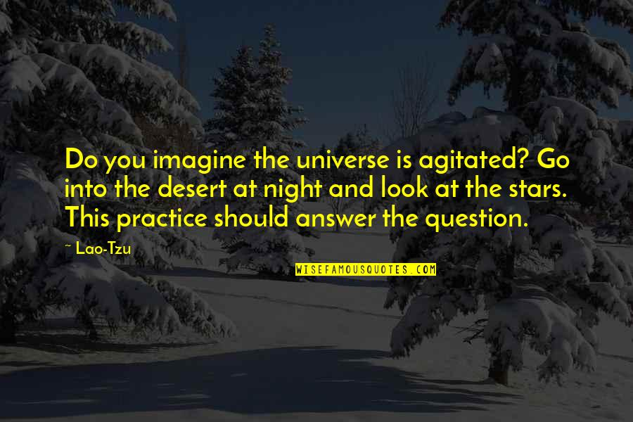 Answer And Question Quotes By Lao-Tzu: Do you imagine the universe is agitated? Go