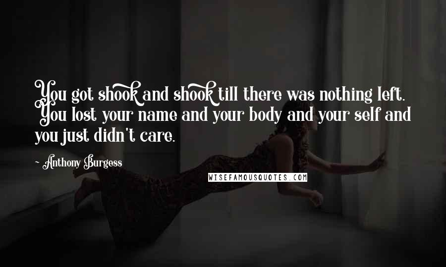 Anthony Burgess quotes: You got shook and shook till there was nothing left. You lost your name and your body and your self and you just didn't care.