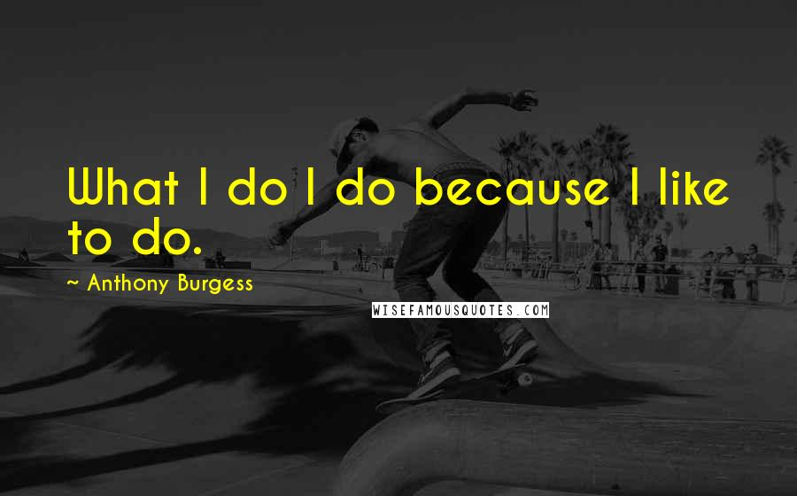 Anthony Burgess quotes: What I do I do because I like to do.