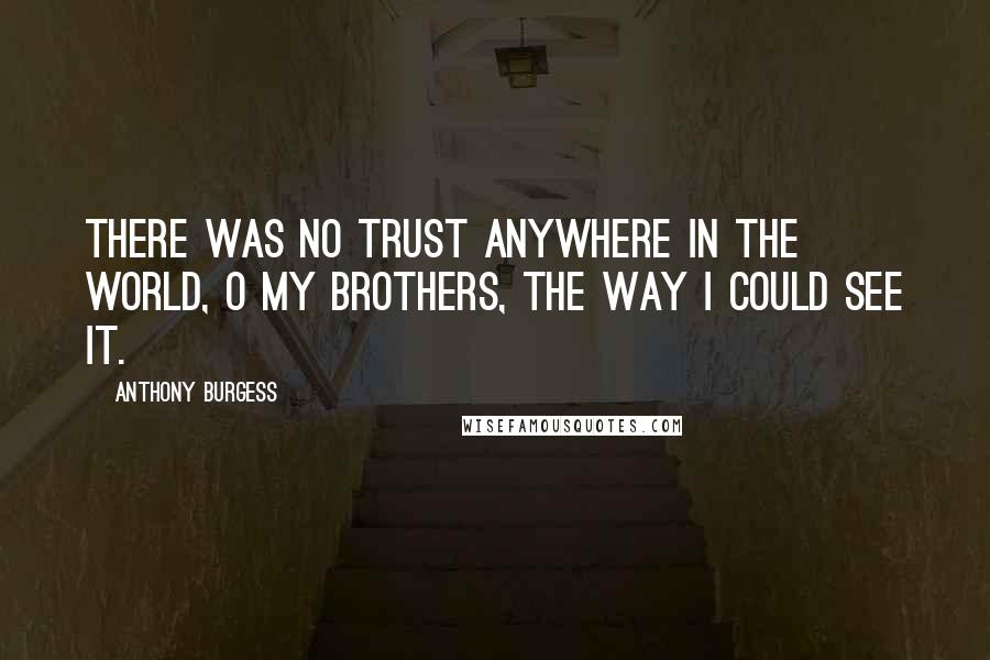 Anthony Burgess quotes: There was no trust anywhere in the world, O my brothers, the way I could see it.