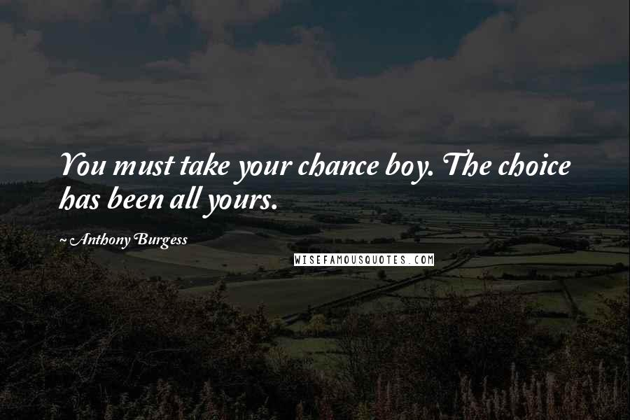 Anthony Burgess quotes: You must take your chance boy. The choice has been all yours.