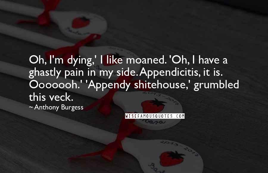 Anthony Burgess quotes: Oh, I'm dying,' I like moaned. 'Oh, I have a ghastly pain in my side. Appendicitis, it is. Ooooooh.' 'Appendy shitehouse,' grumbled this veck.