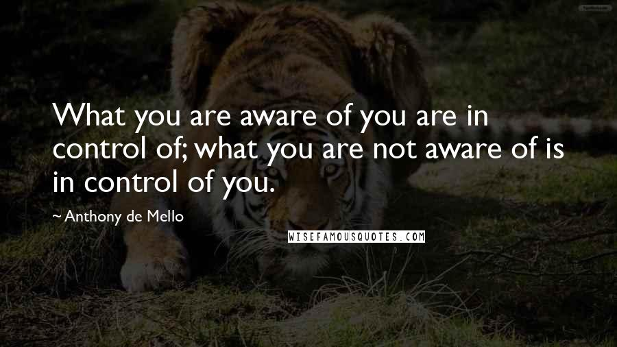 Anthony De Mello quotes: What you are aware of you are in control of; what you are not aware of is in control of you.