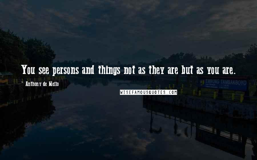 Anthony De Mello quotes: You see persons and things not as they are but as you are.