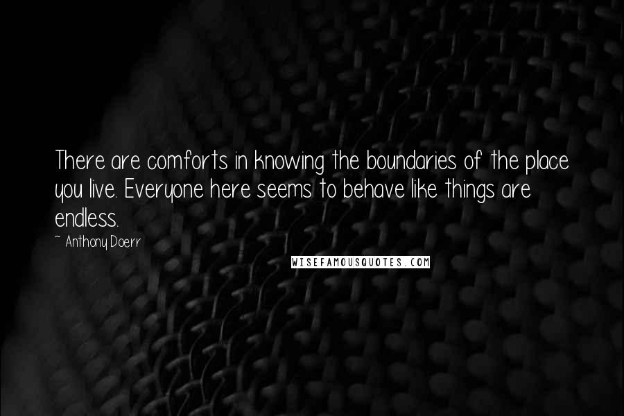 Anthony Doerr quotes: There are comforts in knowing the boundaries of the place you live. Everyone here seems to behave like things are endless.