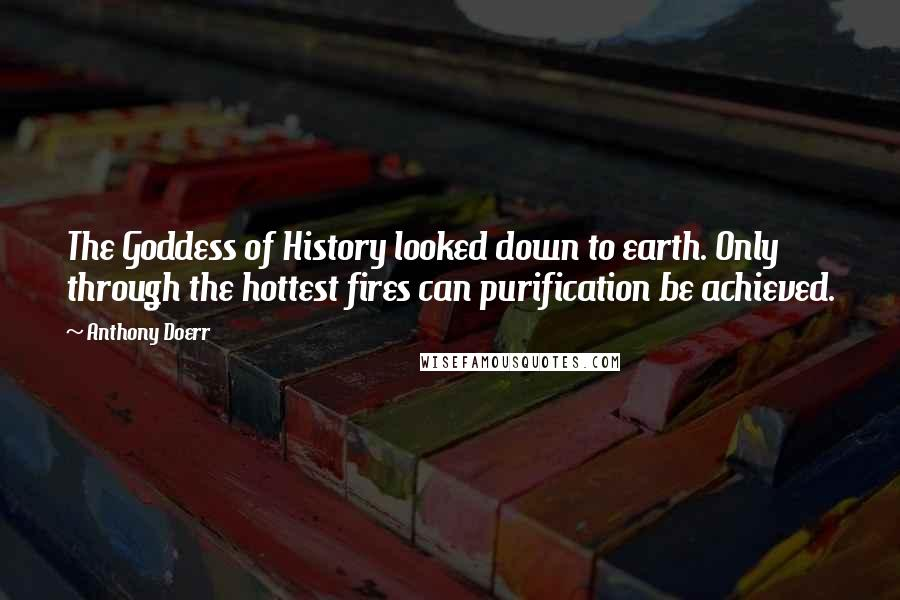 Anthony Doerr quotes: The Goddess of History looked down to earth. Only through the hottest fires can purification be achieved.