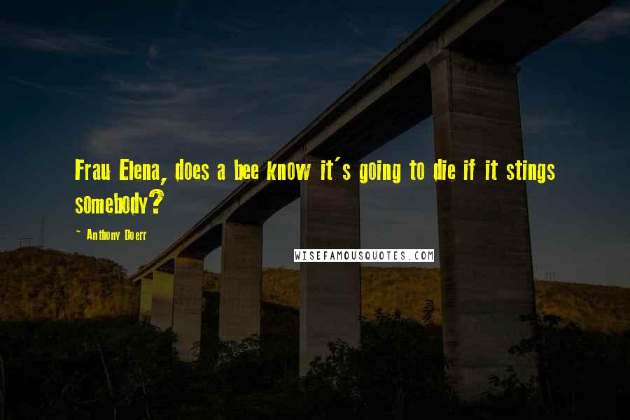 Anthony Doerr quotes: Frau Elena, does a bee know it's going to die if it stings somebody?