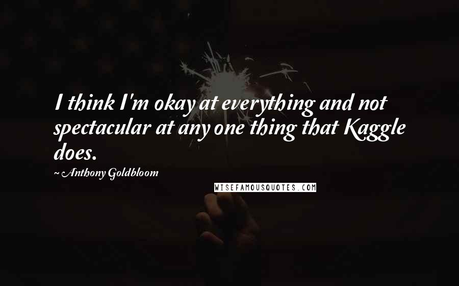 Anthony Goldbloom quotes: I think I'm okay at everything and not spectacular at any one thing that Kaggle does.