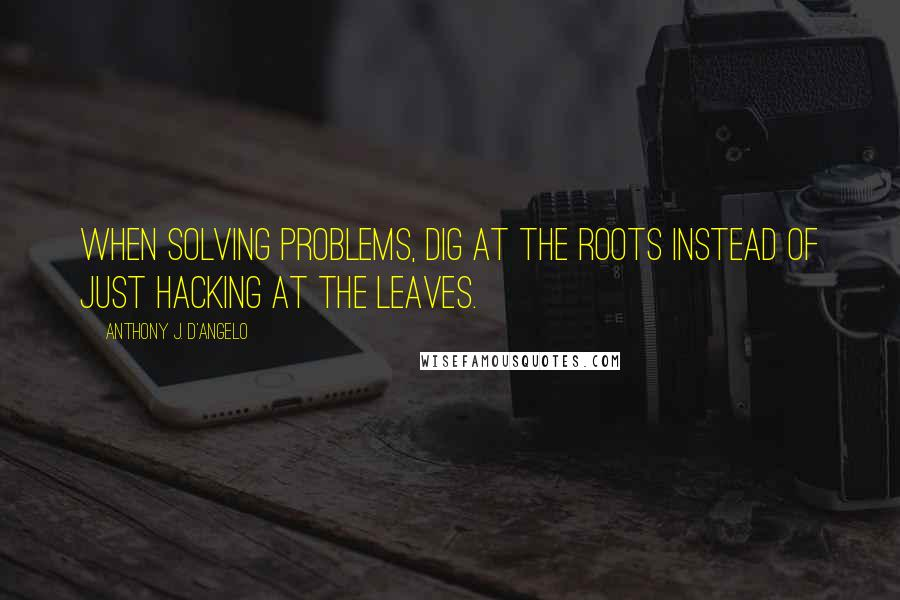 Anthony J. D'Angelo quotes: When solving problems, dig at the roots instead of just hacking at the leaves.