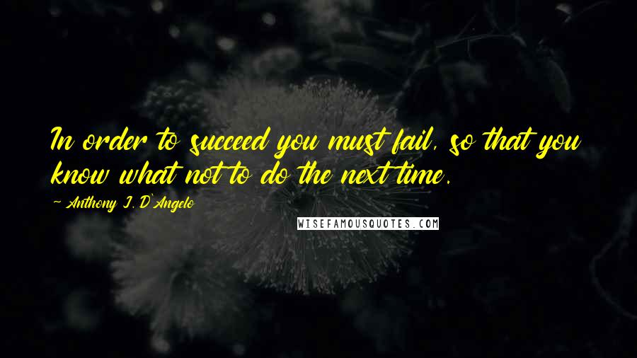 Anthony J. D'Angelo quotes: In order to succeed you must fail, so that you know what not to do the next time.