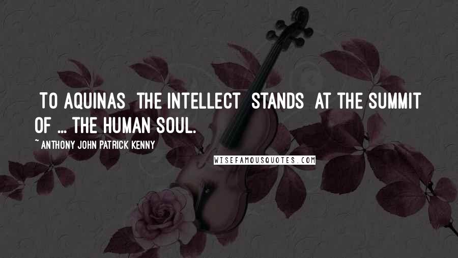 Anthony John Patrick Kenny quotes: [To Aquinas] the intellect [stands] at the summit of ... the human soul.