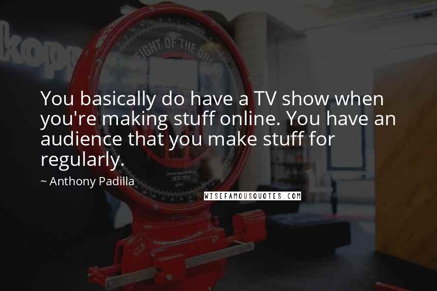 Anthony Padilla quotes: You basically do have a TV show when you're making stuff online. You have an audience that you make stuff for regularly.