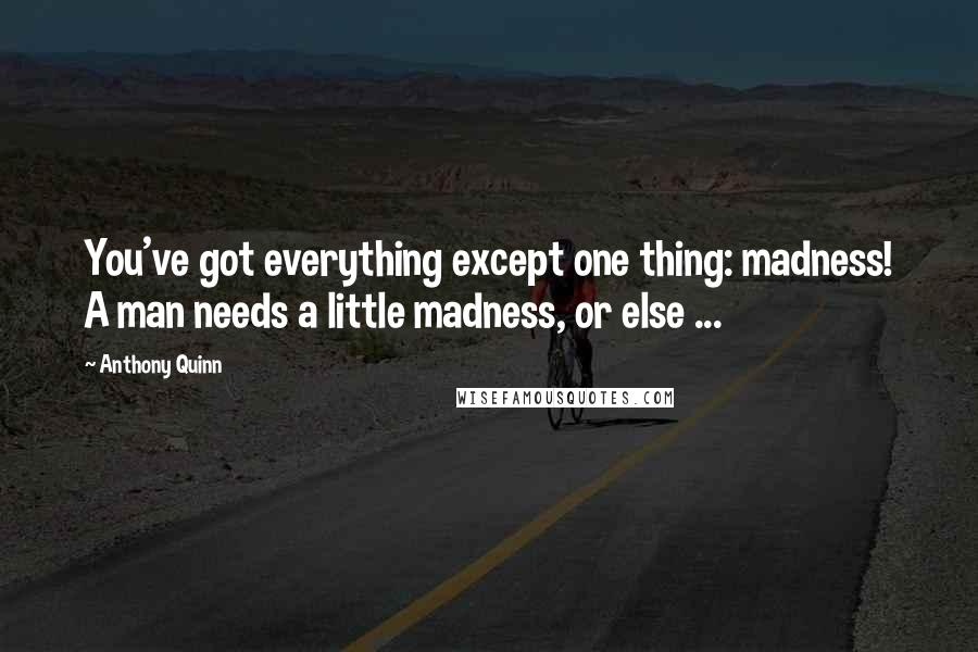 Anthony Quinn quotes: You've got everything except one thing: madness! A man needs a little madness, or else ...