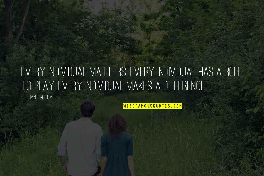 Anti Motherhood Quotes By Jane Goodall: Every individual matters. Every individual has a role