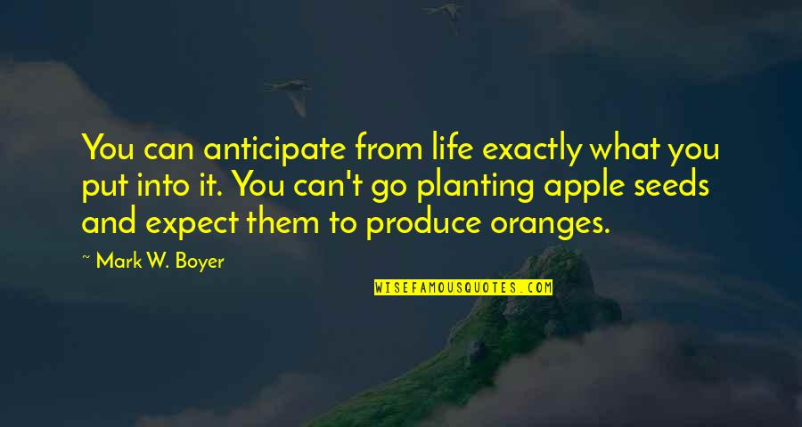 Anticipate Quotes Quotes By Mark W. Boyer: You can anticipate from life exactly what you