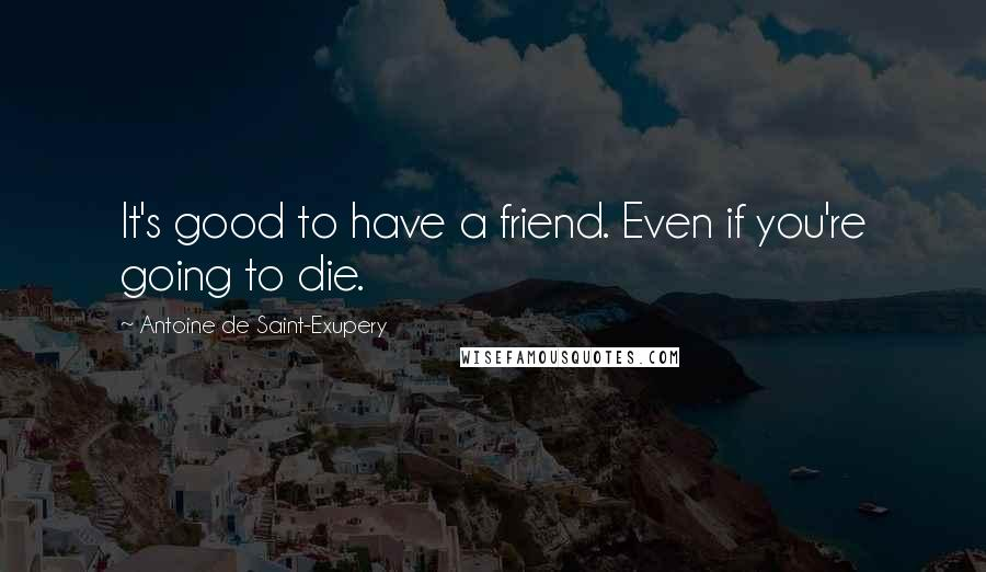 Antoine De Saint-Exupery quotes: It's good to have a friend. Even if you're going to die.