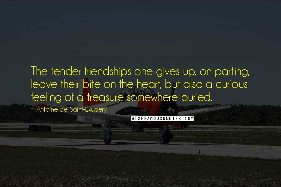 Antoine De Saint-Exupery quotes: The tender friendships one gives up, on parting, leave their bite on the heart, but also a curious feeling of a treasure somewhere buried.