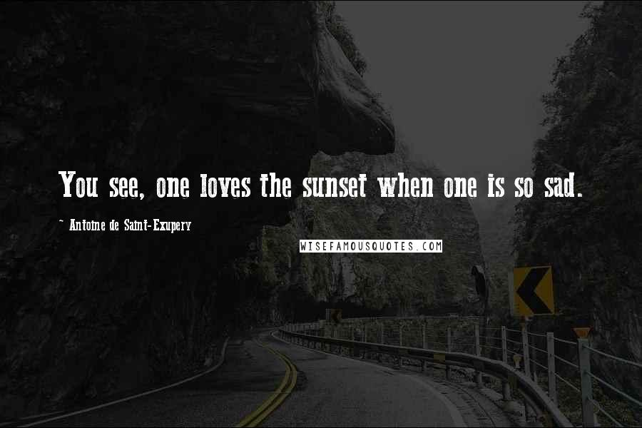 Antoine De Saint-Exupery quotes: You see, one loves the sunset when one is so sad.