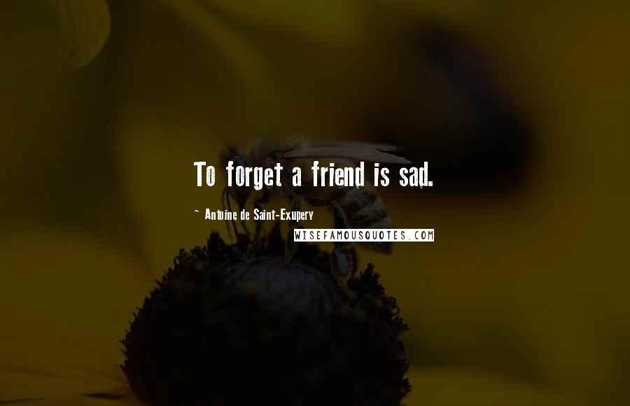 Antoine De Saint-Exupery quotes: To forget a friend is sad.