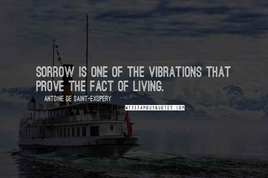 Antoine De Saint-Exupery quotes: Sorrow is one of the vibrations that prove the fact of living.