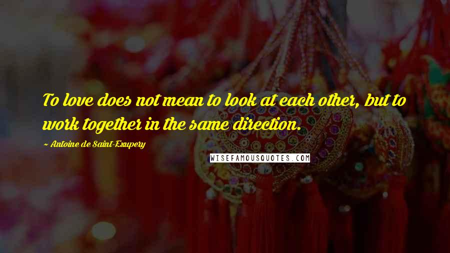 Antoine De Saint-Exupery quotes: To love does not mean to look at each other, but to work together in the same direction.