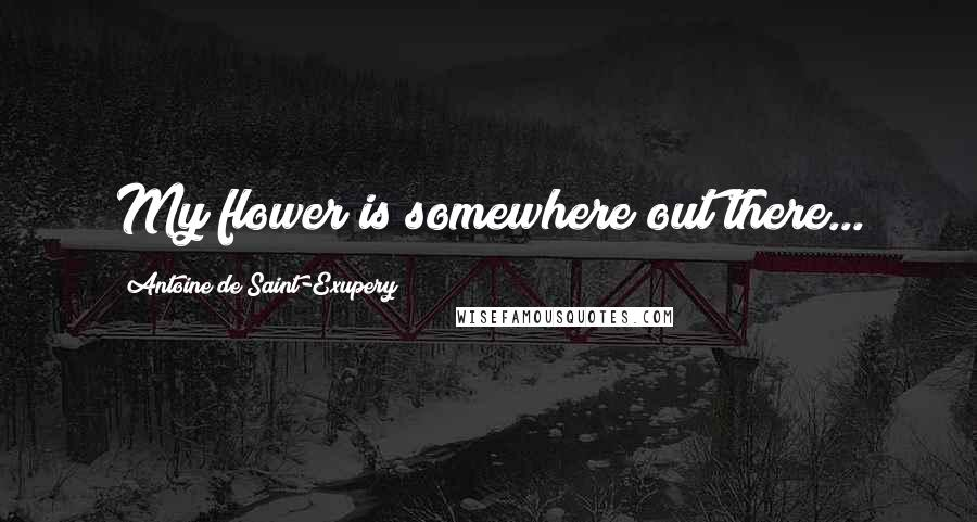 Antoine De Saint-Exupery quotes: My flower is somewhere out there...