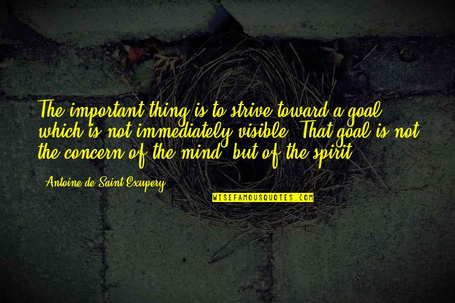 Antoine's Quotes By Antoine De Saint-Exupery: The important thing is to strive toward a