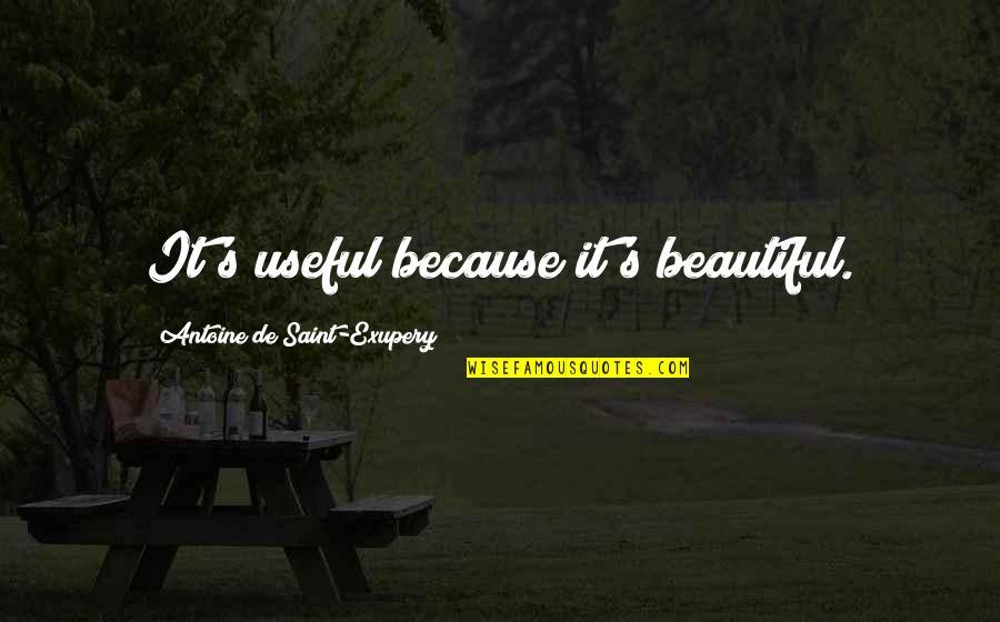 Antoine's Quotes By Antoine De Saint-Exupery: It's useful because it's beautiful.