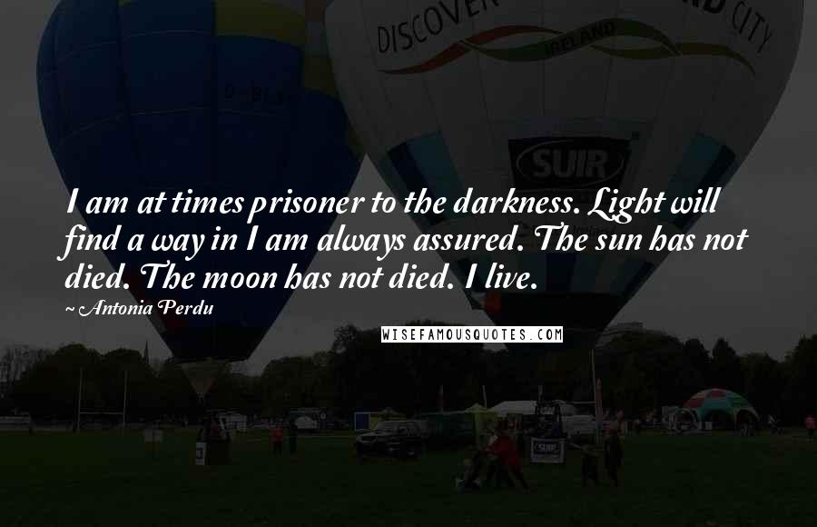Antonia Perdu quotes: I am at times prisoner to the darkness. Light will find a way in I am always assured. The sun has not died. The moon has not died. I live.
