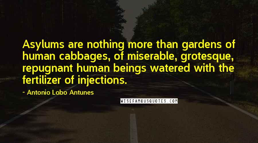 Antonio Lobo Antunes quotes: Asylums are nothing more than gardens of human cabbages, of miserable, grotesque, repugnant human beings watered with the fertilizer of injections.