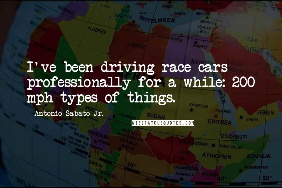 Antonio Sabato Jr. quotes: I've been driving race cars professionally for a while: 200 mph types of things.