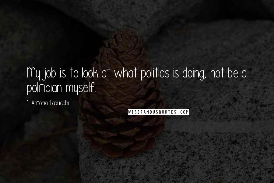 Antonio Tabucchi quotes: My job is to look at what politics is doing, not be a politician myself.