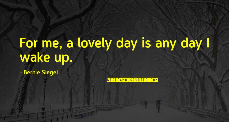 Any Day Quotes By Bernie Siegel: For me, a lovely day is any day