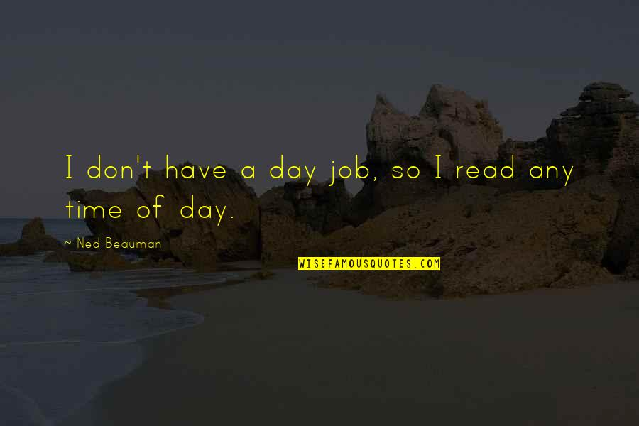 Any Day Quotes By Ned Beauman: I don't have a day job, so I