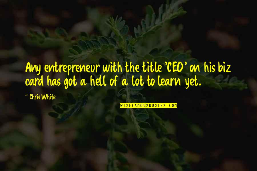 Any Quotes By Chris White: Any entrepreneur with the title 'CEO' on his