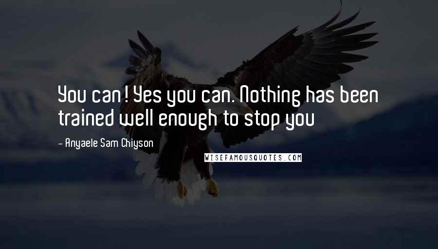 Anyaele Sam Chiyson quotes: You can! Yes you can. Nothing has been trained well enough to stop you