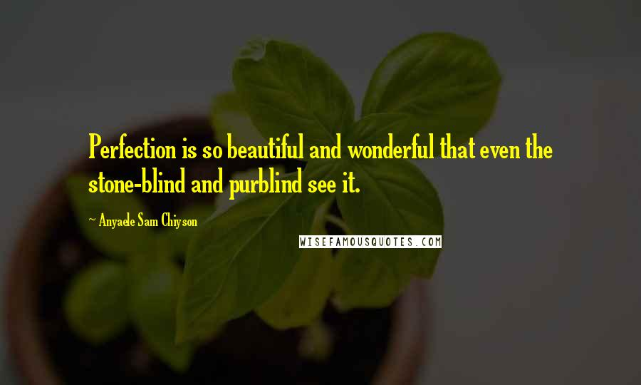 Anyaele Sam Chiyson quotes: Perfection is so beautiful and wonderful that even the stone-blind and purblind see it.