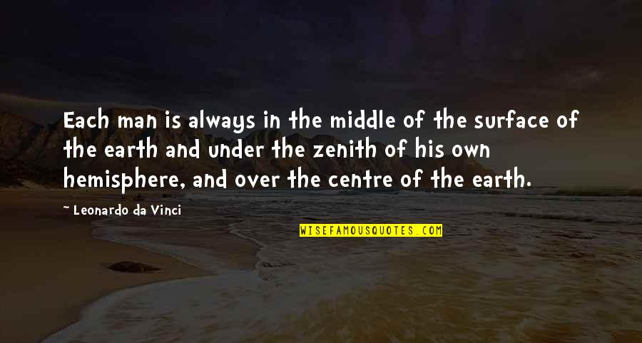 Anyting Quotes By Leonardo Da Vinci: Each man is always in the middle of