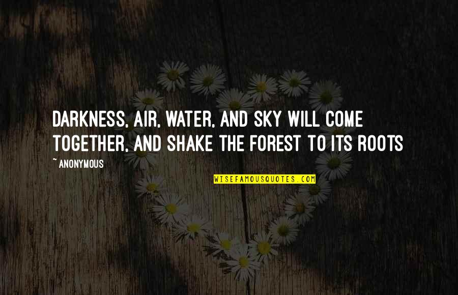 Aomame Quotes By Anonymous: Darkness, air, water, and sky will come together,